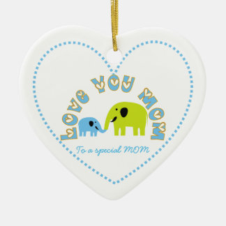 Cute Elephants Mother Child Mother's Day gift Ceramic Ornament