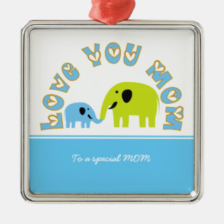 Cute Elephants Mother Child Mother's Day gift Metal Ornament