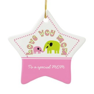 Cute Elephants Mother Child Mother's Day gift ornament