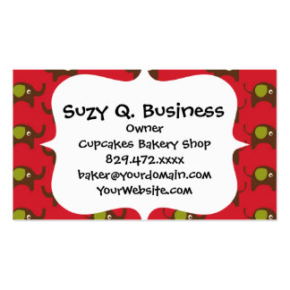 Cute Elephants Pattern Brown Green Cream on Red Business Card
