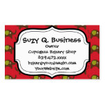 Cute Elephants Pattern Brown Green Cream on Red Double-Sided Standard Business Cards (Pack Of 100)