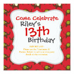 Cute Elephants Pattern Brown Green Cream on Red 5.25x5.25 Square Paper Invitation Card