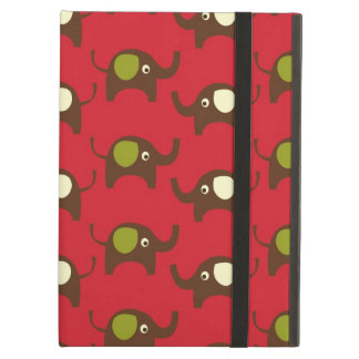 Cute Elephants Pattern Brown Green Cream on Red iPad Cover