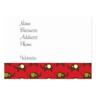 Cute Elephants Pattern Brown Green Cream on Red Large Business Card