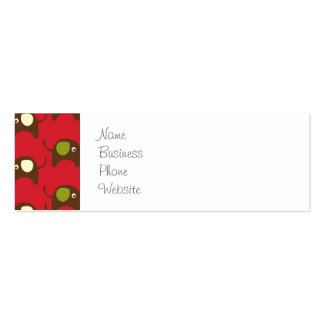 Cute Elephants Pattern Brown Green Cream on Red Mini Business Card