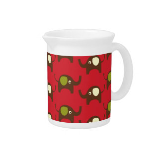 Cute Elephants Pattern Brown Green Cream on Red Pitcher
