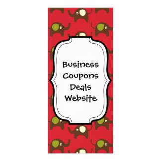 Cute Elephants Pattern Brown Green Cream on Red Customized Rack Card