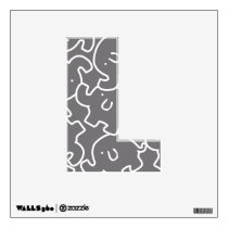Cute Elephants Pattern Grey White 12X12 Letter L Wall Sticker