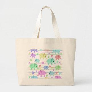 Cute elephants pattern large tote bag