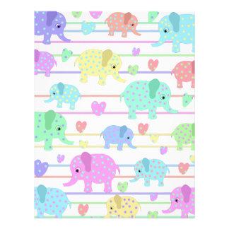 Cute elephants pattern letterhead