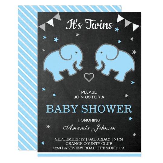 Cute Elephants Twin Boys Baby Shower Invitation