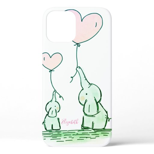 Cute Elephants With Balloons  -Personalized Case-M iPhone 12 Case