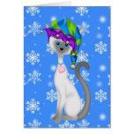 Cute Elf Cat Christmas Card