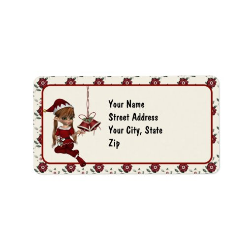 Cute Elf Christmas Address Labels