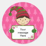 Cute Elf Christmas Gift Tag Sticker
