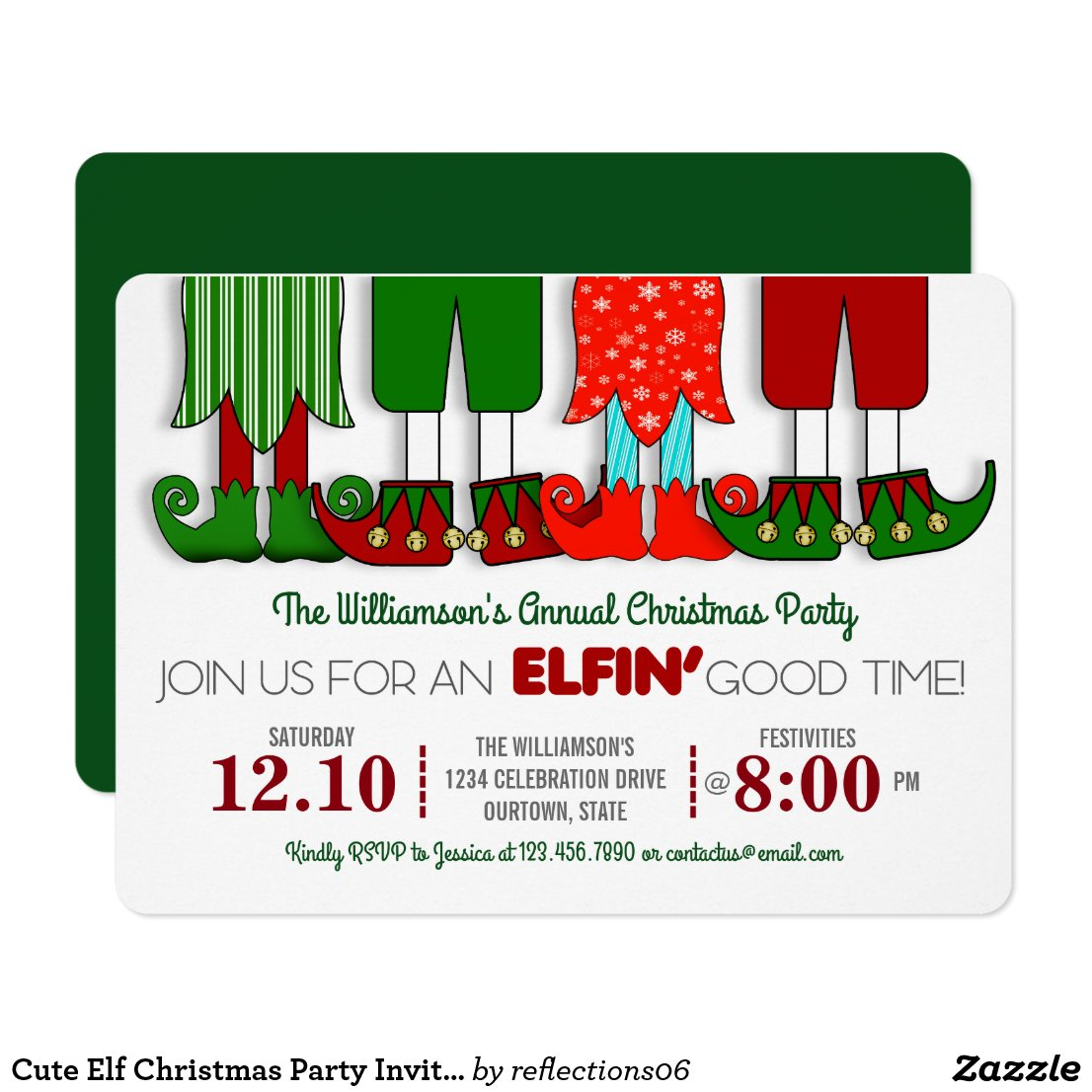 Cute Elf Christmas Party Invitations