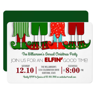 Cute Elf Christmas Party Invitations at Zazzle