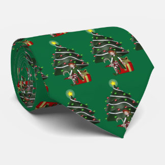 Cute Elf Christmas Tree Holiday Tie