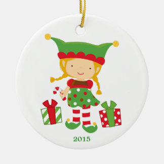 Cute elf girl with presents holiday ornament