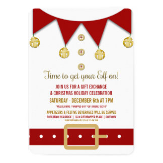 Cute Elf Holiday Gift Exchange Party Invitation