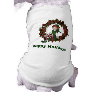 Cute Elf On Wreath Christmas Holiday Shirt