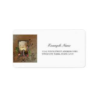 Cute elf sitting and flying on a frame address label