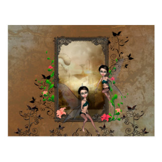 Cute elf sitting and flying on a frame postcard