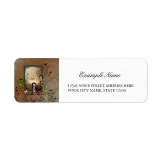 Cute elf sitting and flying on a frame return address label