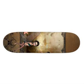 Cute elf sitting and flying on a frame skateboard deck
