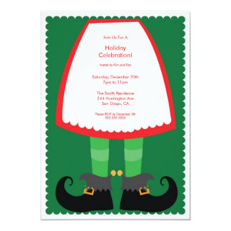 Cute Elf Skirt Holiday Party Invitation