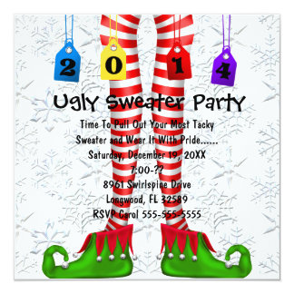 Cute Elf Stocking Ugly Sweater Party Invite