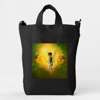Cute elf with butterfly duck canvas bag
