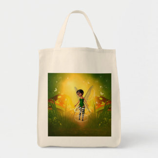 Cute elf with butterfly grocery tote bag