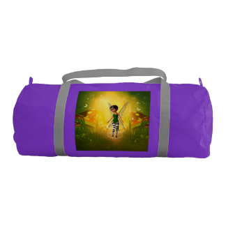 Cute elf with butterfly gym duffle bag