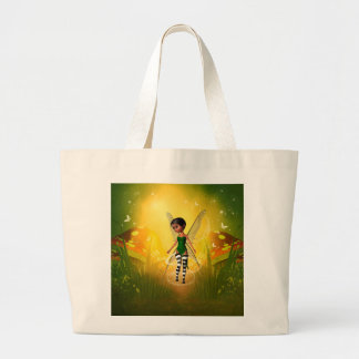 Cute elf with butterfly jumbo tote bag