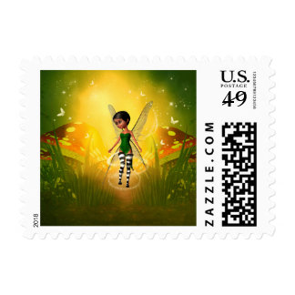 Cute elf with butterfly postage stamps