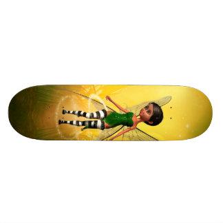 Cute elf with butterfly skate board