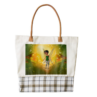 Cute elf with butterfly zazzle HEART tote bag