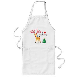 Cute Elk & Christmas Tree | I Love Gardening Long Apron