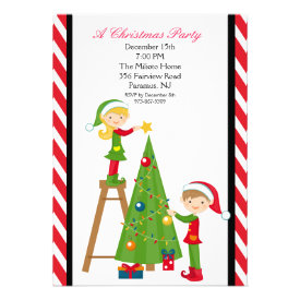 Cute Elves Decorating Tree Christmas Party Invite