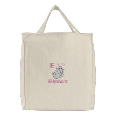 Cute Embroidered Baby Elephant, E is for Elephant Embroidered Tote Bag