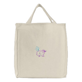 Cute Embroidered Purple Happy Whale Embroidered Tote Bag