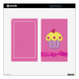 Cute Embroidery Cupcake & Ribbon Pink Kindle Skin
