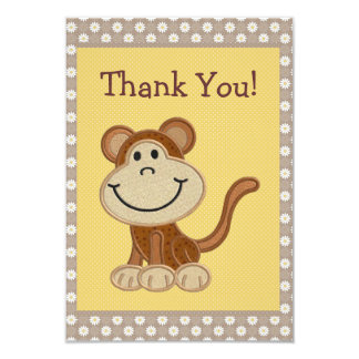 Cute Embroidery Monkey Thank You Baby Shower Custom Announcements