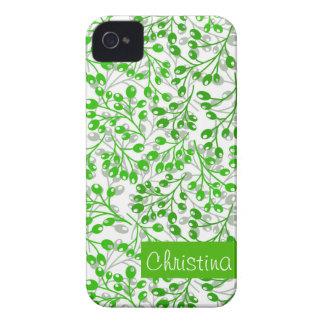 Cute emerald green autumn berries iPhone 4 case
