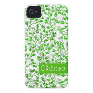 Cute emerald green autumn berries iPhone 4 cover