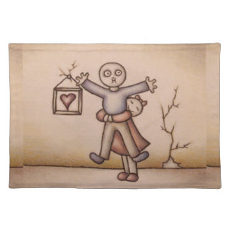 Cute Emo Cartoon of Girl Hugging Boy on Placemat Cloth Placemat