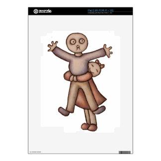 Cute Emo Cartoon of Girl Hugging Boy Decals For The iPad 2