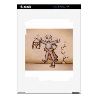 Cute Emo Cartoon of Girl Hugging Boy iPad 2 Skins