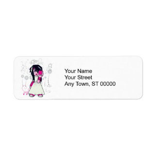 cute emo girl holding heart vector art label